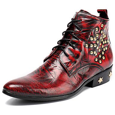 Miesten Fashion Boots Nappanahka Syystalvi Vapaa-aika / Englantilainen Bootsit Pidä lämpimänä Nilkkurit Kaltevuus Punainen / Juhlat
