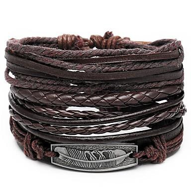 voordelige Herensieraden-4pcs Heren Lederen armbanden Retro Touw gevlochten Veer Uniek ontwerp Hip-hop PU Armband sieraden Bruin Voor Lahja Dagelijks
