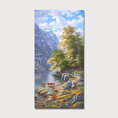 Hang-malované olejomalba Ručně malované - Krajina Květinový / Botanický motiv Moderní Obsahovat vnitřní rám
