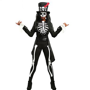 Luuranko / Pääkallo Cosplay-Asut Aikuisten Nainen Cosplay Halloween Halloween Karnevaali Masquerade Festivaali / loma Polyesteria Musta Nainen Karnevaalipuvut Pääkallokuvio