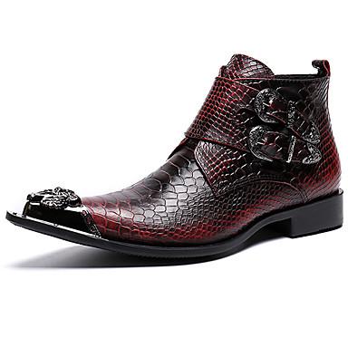 Miesten Fashion Boots Nappanahka Syystalvi Vapaa-aika / Englantilainen Bootsit Pidä lämpimänä Nilkkurit Punainen / Juhlat / Juhlat / Maiharit