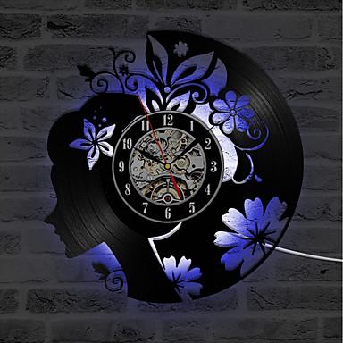 klassisk blomst pige eksklusiv håndlavet cd rekord ur kreative hule 3d dekorative væg ur