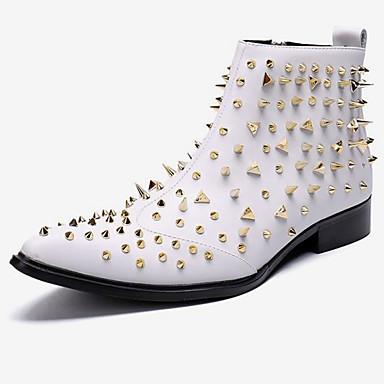 Herre Novelty Shoes Nappa Lær Vinter Fritid / Britisk Støvler Hold Varm Støvletter Hvit / Fest / aften / Nagle / Fest / aften / Fashion Boots / Combat-boots