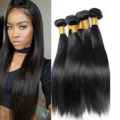 baratos Extensões de Cabelo Natural-6 pacotes Cabelo Brasileiro Liso 100% Remy Hair Weave Bundles Peça para Cabeça Cabelo Humano Ondulado Cabelo Bundle 8-28 polegada Côr Natural Tramas de cabelo humano Sem Cheiros Macio Sedoso
