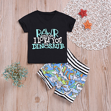 1bd53ac75a62 Baby Boys  Active   Basic Print Print Short Sleeve Regular Regular Cotton  Clothing Set Black