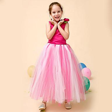 Princess Peach Classic Lolita Mekot Petticoat balettihame Skirtin alla Tyttöjen Lasten Asu Fuksia Vintage Cosplay Silkki Party Suoritus Festivaali Hihaton Prinsessa
