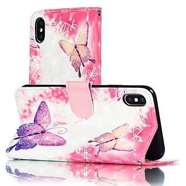 hesapli iPhone Kılıfları-Pouzdro Uyumluluk Apple iPhone XS / iPhone XR / iPhone XS Max Cüzdan / Kart Tutucu / Satandlı Tam Kaplama Kılıf Kelebek Sert PU Deri