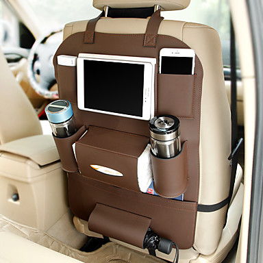 voordelige Auto-interieur accessoires-nieuwe autostoel opbergtas opknoping tassen auto zakdoekjes zakje bekerhouder autostoel rugtas multifunctionele pu opbergtas
