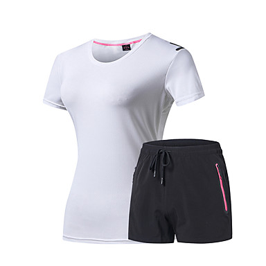 DZRZVD® Women's Activewear Set Outdoor Fast Dry Wearable Tee / T-shirt N / A Camping / Hiking Everyday Use Fuchsia / Dark Grey / Red / Micro-elastic