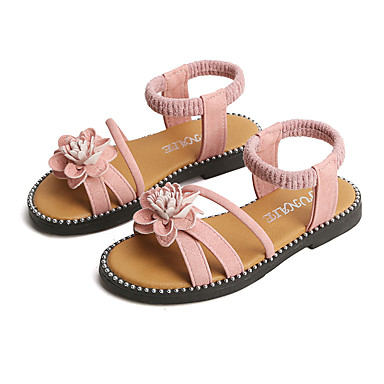hesapli Kız Çocuk Ayakkabıları-Genç Kız PU Sandaletler Küçük Çocuklar (4-7ys) / Büyük Çocuklar (7 yaş +) Çiçekçi Kız Ayakkabıları Çiçekli Siyah / Yeşil / Pembe Yaz