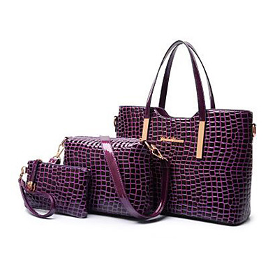 ae75a81839 Γυναικεία Τσάντες PU Σετ τσάντα 3 σετ Σετ τσαντών Φερμουάρ Συμπαγές Χρώμα  Μαύρο   Ρουμπίνι   Βυσσινί