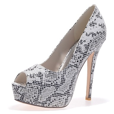 cheap Women's Shoes New Arrivals-Women's Faux Leather / Snakeskin Spring & Summer Minimalism Heels Stiletto Heel Peep Toe Animal Print Black / Fuchsia / Brown / Party & Evening / Daily / Party & Evening