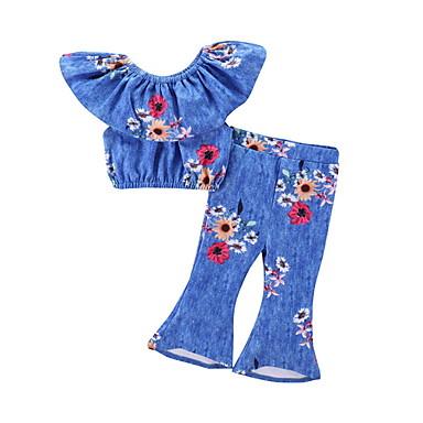 baratos Conjuntos para Meninas-Infantil Para Meninas Moda de Rua Floral Estampado Sem Manga Padrão Conjunto Azul