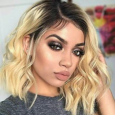 Virgin Human Hair Lace Front Wig Bob Deep Parting Beyonce style Brazilian Hair Wavy Blonde Wig 150% Density with Baby Hair Thick with Clip With Bleached Knots Blonde Women's Short Human Hair Lace Wig