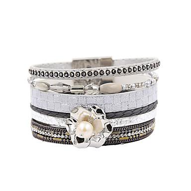 abordables Bracelet-Bracelets en cuir Femme Multirang Pétale Elégant Bohème Bracelet Bijoux Gris pour Cadeau Quotidien Entraînement Soirée Anniversaire