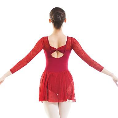 Ballett Turnanzug Damen Training / Leistung Baumwolle / Elasthan / Viskose Spitze Langarm Gymnastikanzug / Einteiler