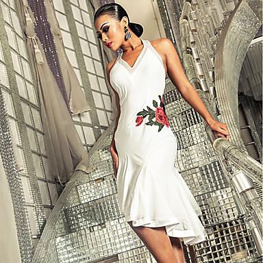 Latein-Tanz Kleider Damen Leistung Elasthan Stickerei / Horizontal gerüscht Ärmellos Kleid