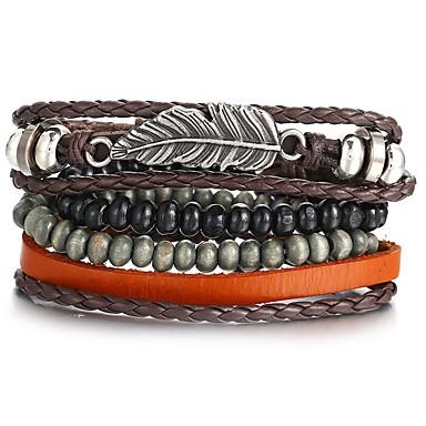 voordelige Herensieraden-4pcs Heren Lederen armbanden Retro gevlochten Veer Uniek ontwerp Hip-hop PU Armband sieraden Zwart Voor Lahja Dagelijks