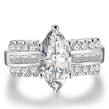 billige Motering-Dame Ring / Micro Pave Ring Kubisk Zirkonium 1pc Hvit Kobber Geometrisk Form Stilfull / Luksus / Europeisk Gave / Stevnemøte Kostyme smykker