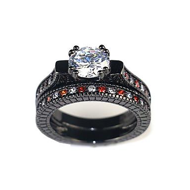 billige Motering-Dame Klar Kubisk Zirkonium geometriske Ring Multi-fingerring Dyrebar Søt Motering Smykker Svart Til Engasjement Seremoni 5 / 6 / 7 / 8 / 9 2pcs
