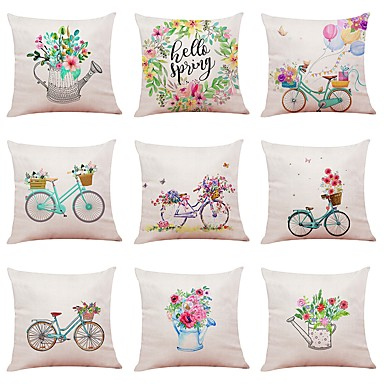 9 Pcs Linen Pillow Cover Special Design Sports And Outdoors Fl Print Casual Daily European