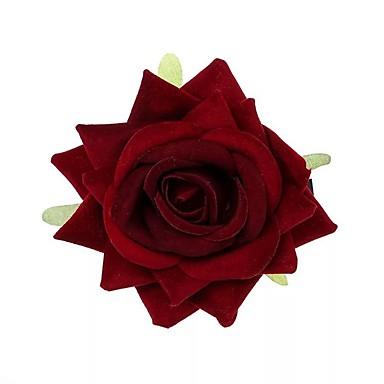 abordables Coiffes-Floqué Petit bouquet de fleurs au poignet / Décorations / Casque avec Fleur / Couleur Unie 1 Pièce Mariage / Occasion spéciale Casque