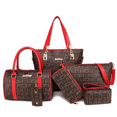 4878be985 نسائي أكياس PU مجموعات حقيبة 6 قطع محفظة مجموعة سحاب هندسي أسود / أحمر /  البيج / خريف & شتاء