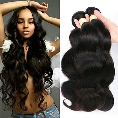 6 pakettia Perulainen Runsaat laineet 100% Remy Hair Weave -paketit Headpiece Hiukset kutoo Bundle Hair 8-28 inch Luonnollinen väri Hiukset kutoo Hajuton Silkkinen Tummille naisille Hiukset Extensions