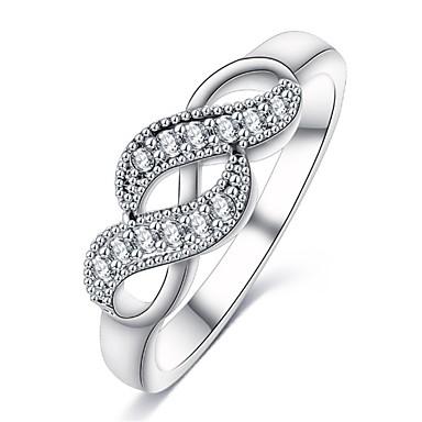 levne Fashion Ring-Dámské Vyzvánění / Prsten / Mikro Pave Ring Kubický zirkon 1ks Bílá Měď Geometric Shape Prohlášení / stylové / Luxus Svatební / Párty / Dar Kostýmní šperky