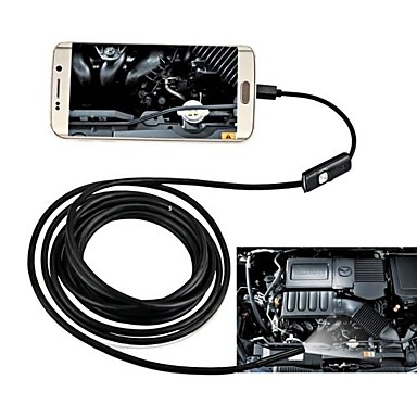 voordelige Microscopen & Endoscopen-8mm usb endoscoop 2m harde kabel waterdichte ip67 inspectie borescope snake camera voor Android pc