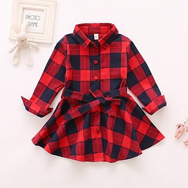 Χαμηλού Κόστους Φορέματα για κορίτσια-Παιδιά Κοριτσίστικα Βασικό Συνδυασμός Χρωμάτων Με Κορδόνια Μακρυμάνικο Πάνω από το Γόνατο Βαμβάκι Φόρεμα Ρουμπίνι