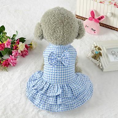 Metodico Prodotti Per Cani Vestiti Abbigliamento Per Cani A Quadri Fiocco Blu Rosa Terylene Costume Per Corgi Beagle Bulldog Primavera Estate Per Femmina Stile Romantico Classico #07148463
