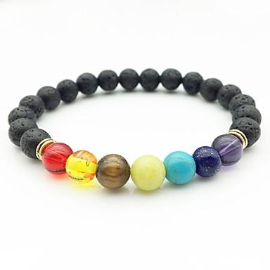 abordables Bracelet-Bracelet à Perles Homme Femme Perlé Argent Or Arc-en-ciel Hip-Hop Bracelet Bijoux Dorée Argent Circulaire pour Cérémonie
