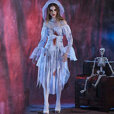 Zombie Mekot Cosplay-Asut Aikuisten Nainen Cosplay Halloween Halloween Karnevaali Masquerade Festivaali / loma Polyesteria Valkoinen Nainen Karnevaalipuvut Patchwork