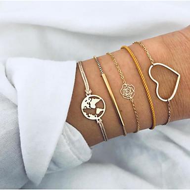 5 Stück Damen Armband Mehrlagig Landkarten Herz Flower Shape Europäisch Modisch Aleación Armband Schmuck Gold Für Verabredung