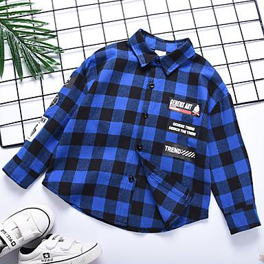 baratos Camisas para Meninos-Infantil Para Meninos Básico Quadriculada Estampado Manga Longa Algodão Camisa Azul