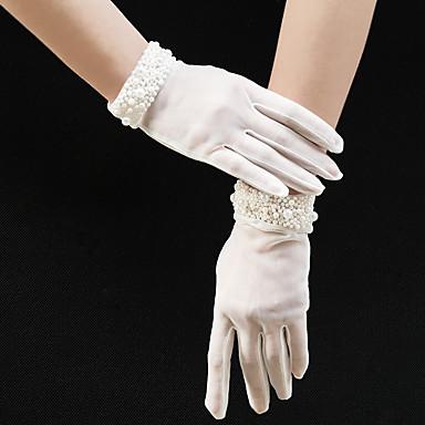 billige Hansker til fest-Tyll Håndleddslengde Hanske Imitert Perle / Elegant Med Imiterte Perler / Trimmer