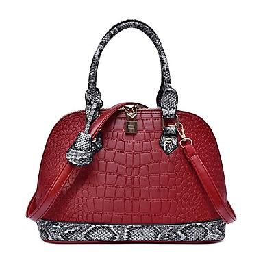 preiswerte Taschen-Damen Reißverschluss Tragetasche PU Geometrische Muster Schwarz / Rote / Grau / Schlangenhaut