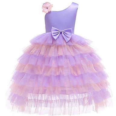 baratos Vestidos para Meninas-Infantil Bébé Para Meninas Activo Doce Quadriculada Retalhos Laço Multi Camadas Sem Manga Longo Vestido Roxo / Algodão