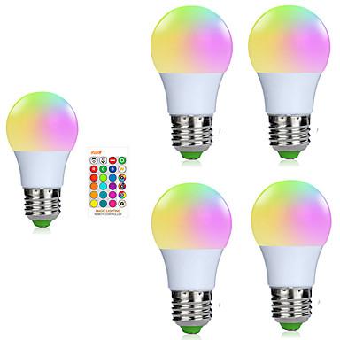 billige Elpærer-5pcs 3 W Smart LED-lampe 200-250 lm E26 / E27 1 LED perler SMD 5050 Smart Mulighet for demping Fjernstyrt RGBW 85-265 V / RoHs / FCC