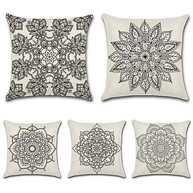 billige Putevar-5 stk Bomull / Lin Putevar, Bohemstil Geometrisk Blomstermønster Tradisjonell / vintage Barokk