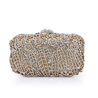 Women S Crystals Hollow Out Alloy Evening Bag Rhinestone