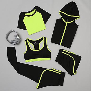 5pcs Naisten Jooga Suit Urheilu Yhtenäinen väri Shortsit Alusvaate Pyöräily Sukkahousut Jooga Fitness Activewear Hengittävä Nopea kuivuminen Hikeä siirtävä Power Flex