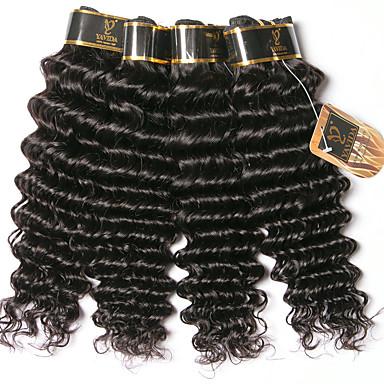 baratos Extensões de Cabelo Natural-6 pacotes Cabelo Brasileiro Onda Profunda 100% Remy Hair Weave Bundles Cabelo Humano Ondulado Um Pacote de Solução Extensões de Cabelo Natural 8-28 polegada Côr Natural Tramas de cabelo humano