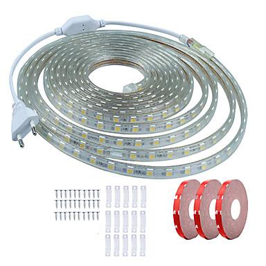 billige LED Strip Lamper-KWB 15 m Fleksible LED-lysstriper 900 LED SMD5050 1Sett monteringsbrakett Varm hvit / Hvit / Rød Vanntett / Kuttbar / Dekorativ 220-240 V 1set