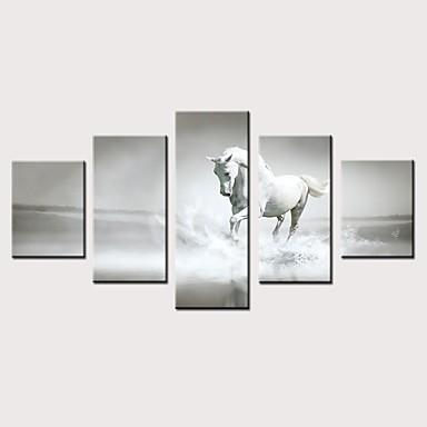 abordables Toiles-Imprimé Impressions sur toile roulées Impression sur Toile - Animaux Rétro Vintage Moderne Cinq Panneaux Art Prints