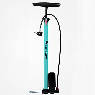 WEST BIKING® Pyörän lattiapumppu, jossa on mittari Kannettava Kevyt Kestävä Korkeapaine Tarkka inflaatio Käyttötarkoitus Maantiepyörä Maastopyörä Pyöräily Alumiiniseos Sininen