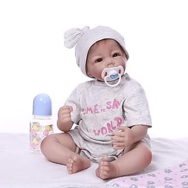 NPKCOLLECTION Reborn Dolls Poikavauvat 22 inch Vinyyli - elävä Sievä Keinotekoinen implantaatio Brown Eyes Lasten Unisex Lelut Lahja