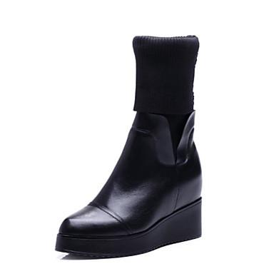 voordelige Dameslaarzen-Dames Leer Herfst Laarzen Sleehak Kuitlaarzen Zwart