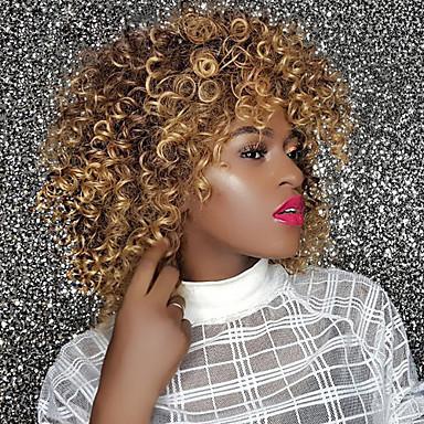 Synthetische Perücken Locken / Afro Kinky Stil Mit Pony Kappenlos Perücke Gold Strawberry Blonde / Medium Auburn Synthetische Haare 14 Zoll Damen Synthetik / Komfortabel / Afro-amerikanische Perücke
